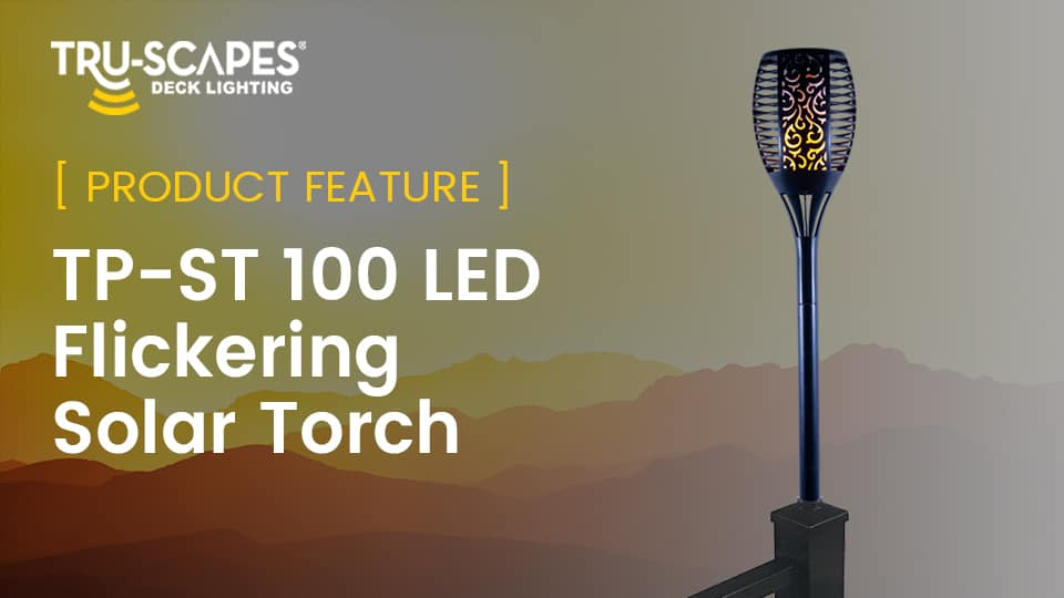 LED Flickering Solar Torch for Deck Post